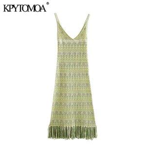 KPYTOMOA Kadınlar 2020 Şık Moda ile Püskül Örme Midi Elbise Vintage Backless Saçaklı Hem sapanlar Kadın Elbiseler vestidos