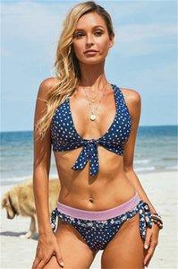 Imposta Womens Pois 2PCS bikini Donna Sexy Bow Halter Croce Backless Costumi da bagno delle donne della spiaggia di estate macerazione