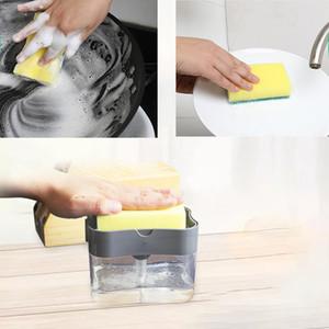 Lavavajillas pote del cepillo Artefacto Al pulsar líquido Box Wipe Esponja Combinación de cocina lavavajillas automático de líquidos cepillo de limpieza