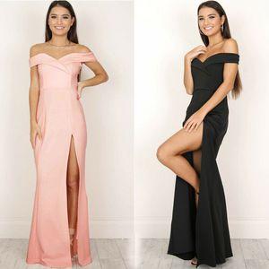Moda Zarif Vogue Örgün Elbise Akşam Parti Kadın Bayanlar Kapalı Omuz İnce Katı Straplez Yüksek Bel Ayak Bileği Uzunlukta Elbise