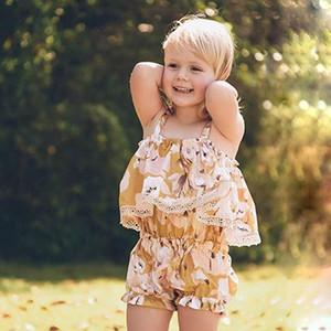 Ropa para niños de verano Cute Toddler Baby Girl sin mangas con volantes Crop Tops + Shorts 2 piezas Trajes 2019 Nueva llegada Ropa para niños