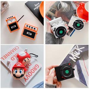 Elma AirPods 1/2/3 Airpods Pro Kapak için Askı En Yeni Güzel 3D Silikon Kamera Radyo Stil Kılıf Su geçirmez