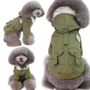 Küçük Sıcak Windproof Fleece Çizgili Köpek Jacket Kış Köpek Giyim Sahte Kürk Yaka Köpek Coat