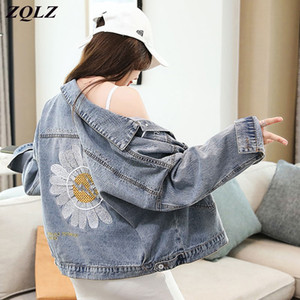 ZQLZ Jacket Outono Mulheres 2020 Flor Bordado Preto Vintage Jean Overcoat Mujer Casual solta Primavera Short Jeans Brasão Feminino