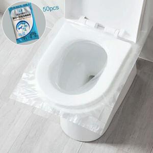 Viajes 50pcs desechable higiénico Hoteles papel universal WC etiqueta de cubierta de asiento de negocios heces Conjunto de Seguridad y Salud película protectora
