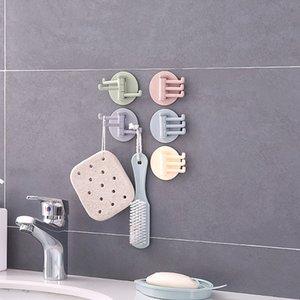 Fügen Sie kreative Seamless 3 Zweig Drehhaken Küche Badezimmer Haus Wand Plactical Adhesive Haken Home Decor Supplies