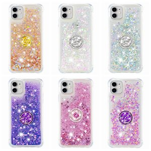 Shockproof Quicksand Soft TPU Case For Iphone 12 11 Pro XR XS MAX 8 7 6 360 Finger Metal Ring Flower+Bling Diamond Liquid Holder Love Cover