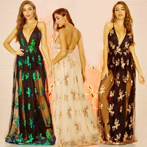 Women Deep V Neck Lace Dress Sexy Sequin Backless Hollow Out Sleeveless Bodycon Dress Party Club Wedding Long Dress