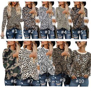 Leopard-Druck-Frauen-T-Shirt Herbst Pullover Langarm-O-Ansatz T-Shirt Fashion Design Sweatshirt beiläufige Bluse Mädchen Top Bekleidung INS Tops