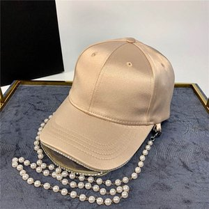 Fashional Perla Cadenas Diseñador Sombrero 3 colores Caps gorra de béisbol de la calle para la mujer caliente ajustable Marca Sombrero Gorros con Cadena
