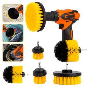 3pcs / Set Power Drill Spazzola 1/4 Brushs Clean Per Bagno Cucina Tile Tools Grout Cordless Scrub Cleaning Kit di alimentazione Accessori