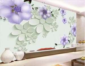 3d комната обои на заказ фото фон фреска 3D рельефный цветочный узор сирень цветы виноград HD декор для дома стены искусства фотографии