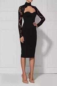 wholesale 2016 new fashion black high neck long sleeve evening lace bandage Dresses Dress + suit