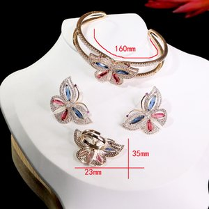 Fashionable Butterfly Jewelry High Quality Cubic Zirconia Women Engagement Dinner Earring Ring Bracelet Combination Wedding Accessories ZY