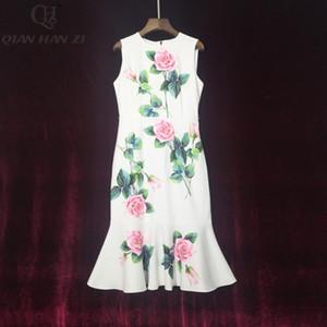 Qian Han Zi 2020 Designer Fashion Summer Dress Women's sleeveless rose print elegant mermaid bodycon dress