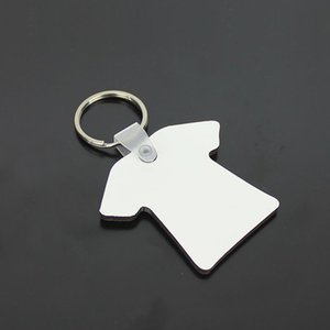 الجملة 100pcs DIY MDF Double Blank t-shirt Key Chain Sublimation Wood Key Ring For Heat Press Transfer Jewlery Photo Gift