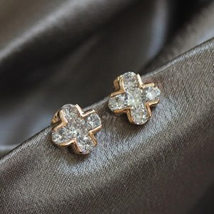 No Piercing Clip Earrings with Cubic Zircon for Women High Quality Classical Cross Shape Design Earings Jewlery Gift