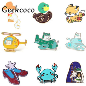 20pcs lot J1432 Geekcoco Cartoon Cat And Spirited Away Metal Brooch Collar Character Pin Jeans Shirt Badges Backpack Pins