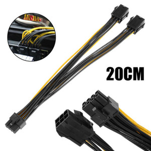 DHL Free Shipping 100pcs Dual 6 Pin Female To Single 8 Pin Male PCIe Graphics Power Cable 20cm FAST POST