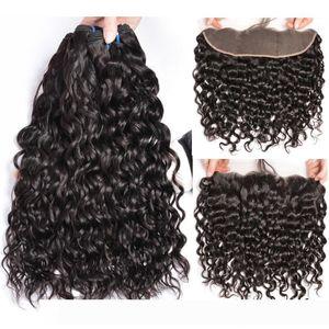 Wholesale Brazilian Human Hair Weave pelucas Water Wave Wet and Wavy Virgin Hair Bundles with 13X4 Ear To Ear Lace