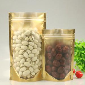 100pcs mat or ZIPLOCK debout sac grande petite feuille plastique aluminium poche sacs d'emballage cadeau de bonbons alimentaire translucide or