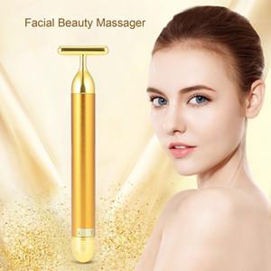24k Altın Titreşim Yüz Zayıflama Yüz Güzellik Bar Kırışıklık Çubuk Sıkma Sıkılaştırıcı Yüz Roller Masaj Asansör Skin Pulse
