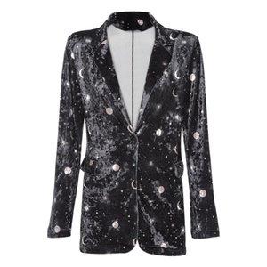 VESTLINDA Blazer Женщины костюм Модные шеи длинным рукавом Moon Star Print Плечи проложенный Велюр Кнопка Pocket Office Outwear на продажу