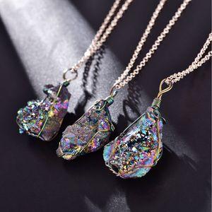 Заявление Чакра Природный камень ожерелье Нерегулярные Сырье минеральное Кварц Druzy ожерелье Vintage ювелирные изделия Рождественский подарок