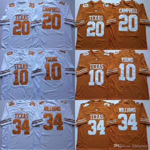 34 Ricky Williams Texas Longhorns 10 Vince Young 20 Earl Campbell NCAA College Football Jerseys doppelt genähter Name und Nummer