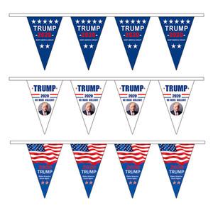 20 * 30cm Trump 2020 Cordas Bandeira Banners presidente dos EUA, Eleição manter a América Grande Triângulo Flags 3 estilos