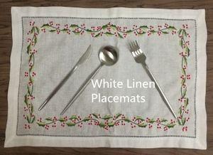 Conjunto de 12 moda Mantel 14x20 pulgadas blanca vainica Lino Camino de mesa / Individuales con bordado floral elegante para el almuerzo o cena