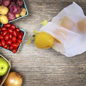 5Pcs Reusable Vegetable Fruit Mesh Storage Bags Bundle Drawstring Organizer Bags Kitchen Fruit Storage Tools
