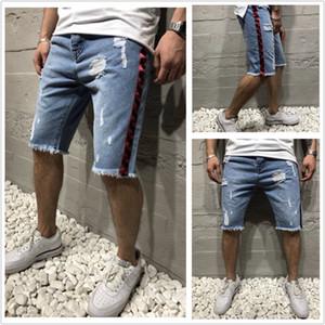 mens Denim hole slim ribbon pants shorts
