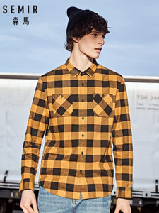 Semir Flannel plaid shirt men 2020 long sleeve shirt men's cotton thickening grind winter plaid Korean tide