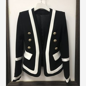 HIGH QUALITY Designer Coat,woman Blazer Jacket lady Classic Black White Color Block Metal Buttons fashion lady tops Blazer