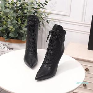 Neue Frauen geschnürte Ankle Boots In Krokodil geprägtes Leder Damen Stiefel Designer Boot Black Tie mit dem Kasten