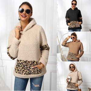 Women Fashion Thicked Shirts Leopard Autumn Warm Hooded Sweatshirt Lamb cashmere Kangaroo pocket Outwear Female Casual Winter Clothe S-XL