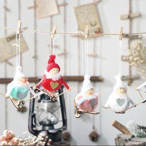 Christmas Skiing Plush Angel Colgante Drop Ornament Dolls Christmas Tree Party Decoration para el hogar