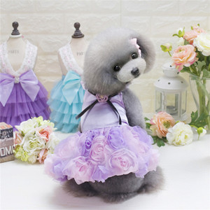 Pet Dog Cat Tutu Dress Teddy Rose Princess Dog Abiti Lovely Wedding Dress For Dogs 3 colori