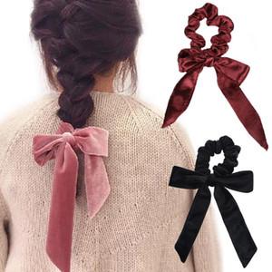 Nettes Mädchen-Haar-Seil Samt Scrunchies Bowknot elastische Haar-Bänder für Frauen Bow Riegel-Pferdeschwanz-Halter Zubehör RRA2787