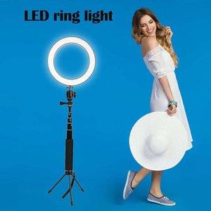 8 pulgadas mini anillo de luz LED Lámpara portátil Lámpara circular cabeza de la bola del trípode de Monopod kit 80LED Video Studio Light