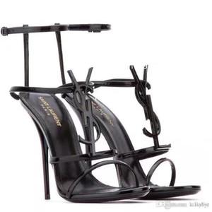 10.5cm Kadın ayakkabı Deri malzeme büyüklüğü 35-41 ile 2019 Şerit kombinasyon Fine Yeni moda bayanlar yüksek topuklu