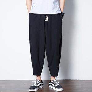 Esfriar Mens perna larga Pant Branca Cáqui Preto Tornozelo de comprimento Harem Pants Algodão Linho Pockets Calças sólidos Hip Tops Calças