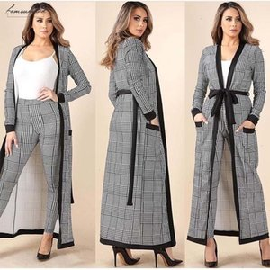 Arrival 3 New Pieces Set Women Crop Top Pencil Pants Jacket Fashion Clelebrity Office Lady Elegant Patchwork Long Sleeves Casual