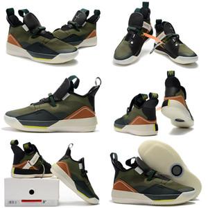 Zapatillas de baloncesto Jumpman XXXIII 33 de alta calidad Travis x Black Army Green Verde oliva Hombre 13s DMP Grey Toe History Of Flight Zapatillas Tamaño 40-46