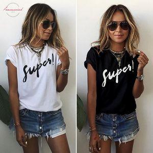 T Shirt Women T Shirt Digital Super Letter Print Short Sleeved Summer Style Tshirt Strange Cheap Cloth Vestidos Ropa Mujer T015