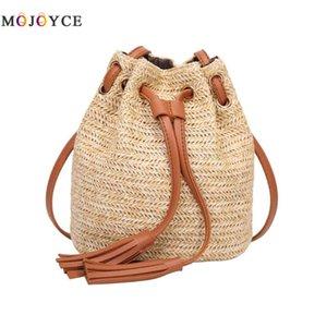 Bohemian Mini Beach Bucket Bags Mujer Straw Weave Tassel Summer Boho Crossbody Bag Bolsos de mujer