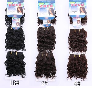 CoCo 3pcs pack Water Wave Black 1B Hair Weaving 200g 8INCH Short Synthetic Natural Wavy Hair Weave Extensions Weft For Black Women