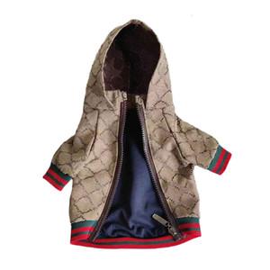 Осень Осень Pet Куртки Пальто Стильный плащи с Letters Бульдог корги Сиба-ину Модная одежда для собак с облицовкой