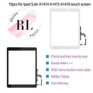 10pcs para el iPad 5 ipad A1474 aire la asamblea de pantalla táctil digitalizador con el botón Inicio Flex Cable Ribblin y el adhesivo de piezas de repuesto etiqueta